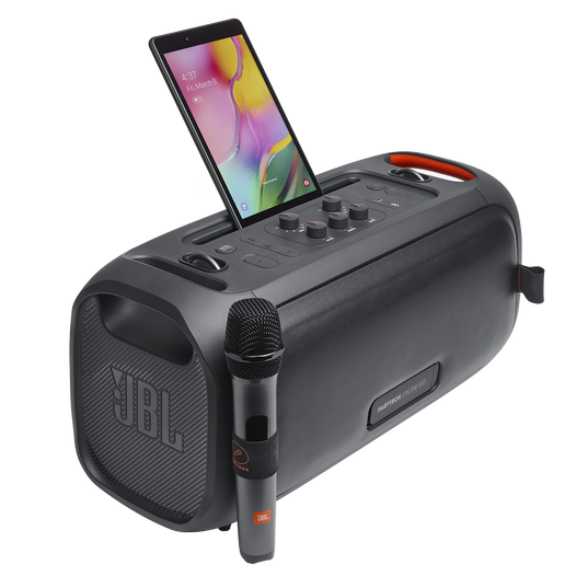 JBL PartyBox On-The-Go - Black - Portable party speaker with built-in lights and wireless mic - Detailshot 5