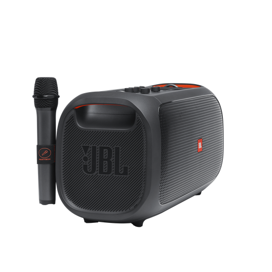 JBL PartyBox On-The-Go - Black - Portable party speaker with built-in lights and wireless mic - Detailshot 1
